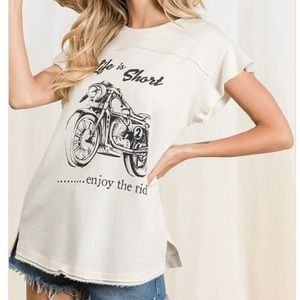 Tops - Ivory Motorcycle French Terry Short Sleeve Top